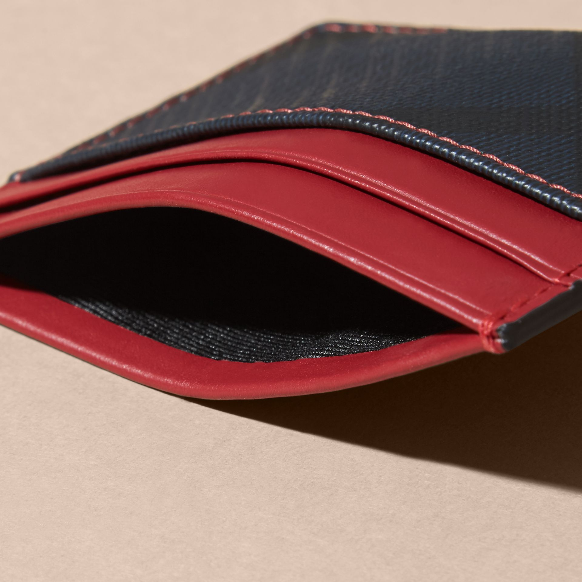 London Check and Leather Card Case in Parade Red - gallery image 5