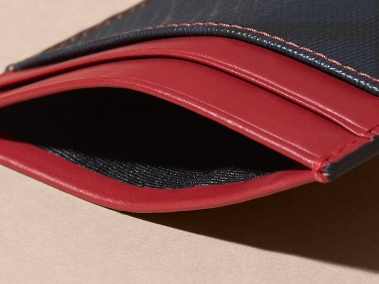London Check and Leather Card Case in Parade Red - cell image 4