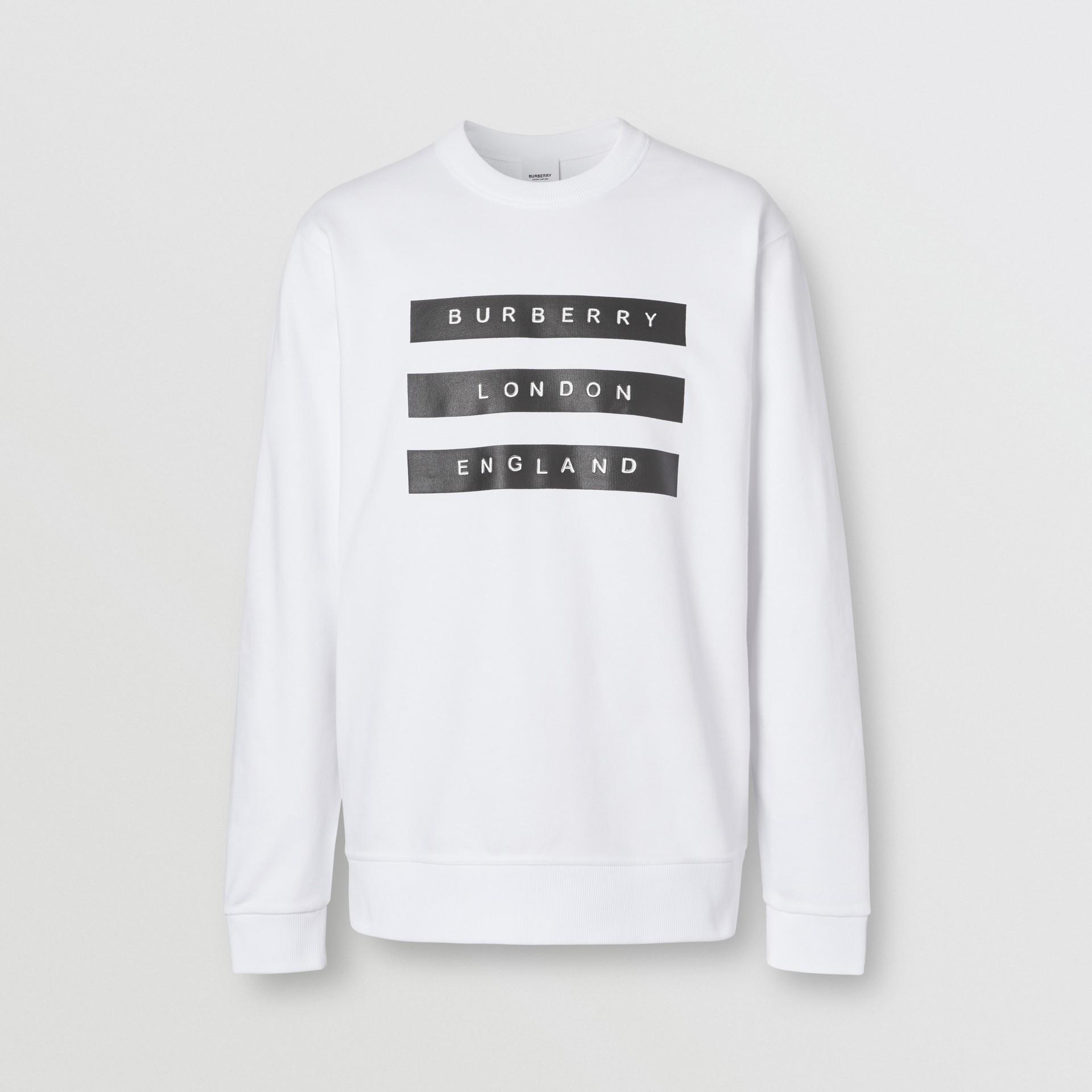 Tape Print Cotton Sweatshirt in White - Men | Burberry - gallery image 3