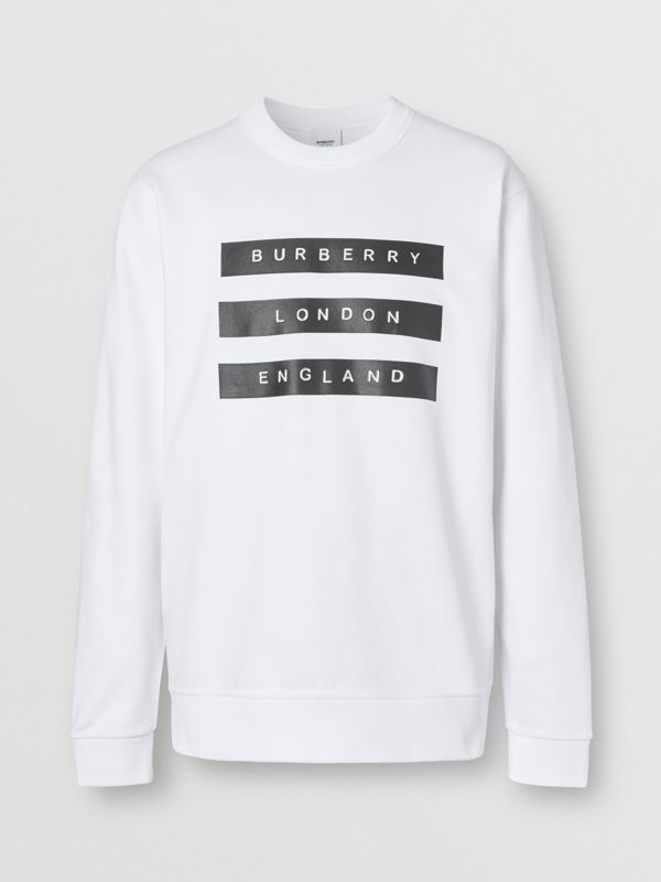 Tape Print Cotton Sweatshirt in White - Men | Burberry - cell image 3