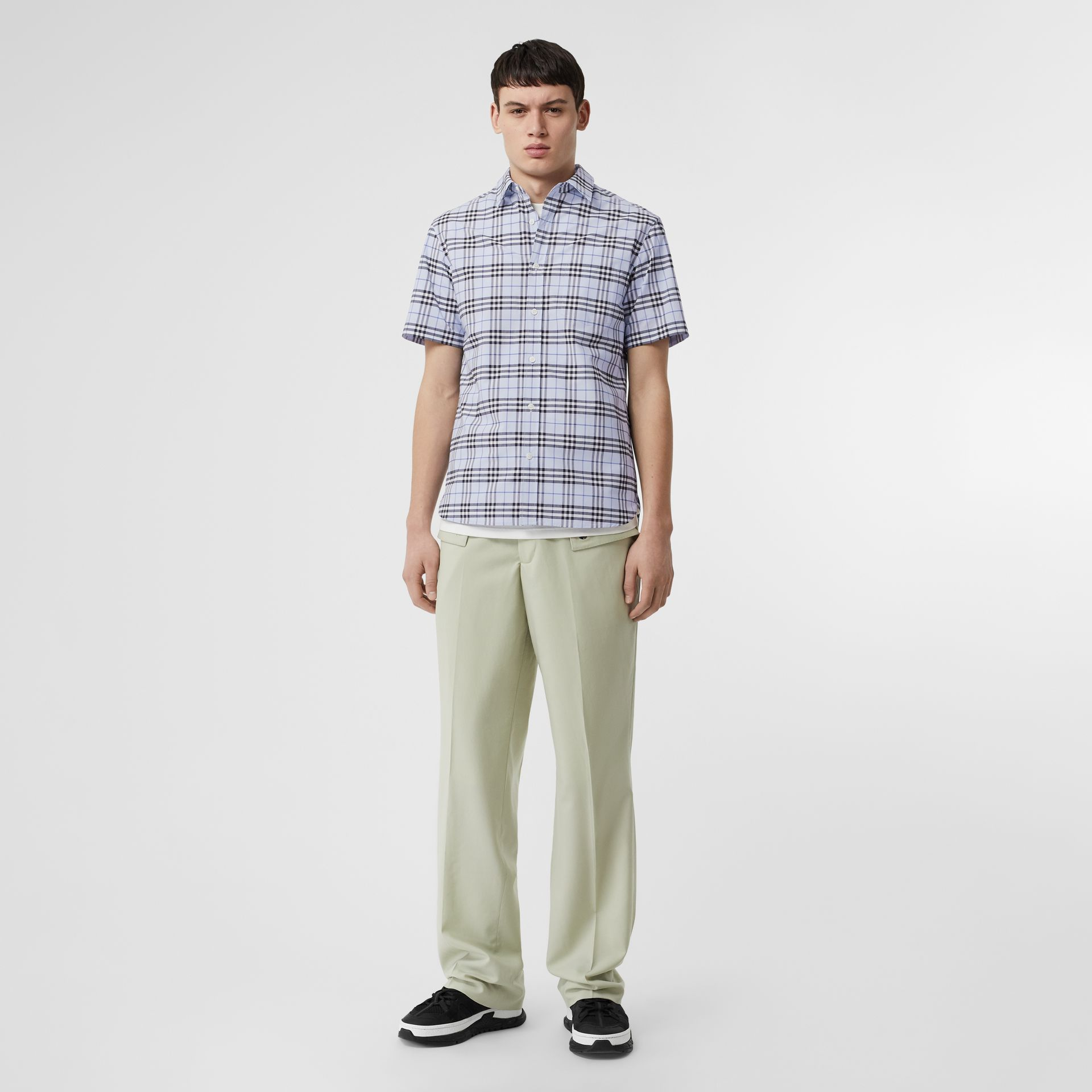 Short-sleeve Check Stretch Cotton Shirt in Sky Blue - Men | Burberry United Kingdom - gallery image 0