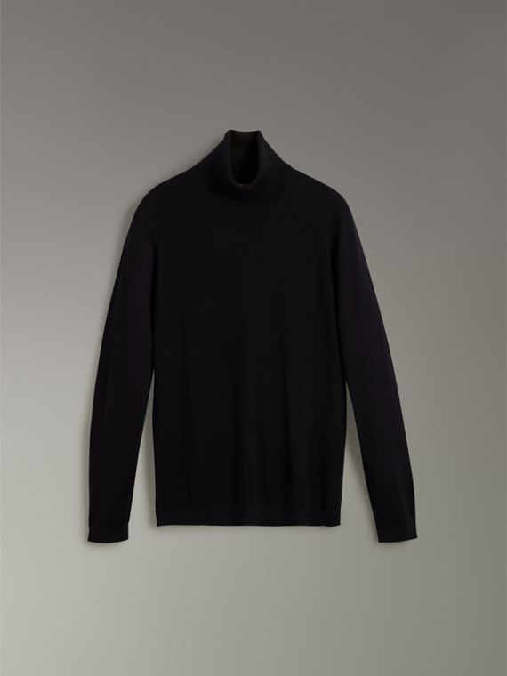 Silk Cashmere Roll-neck Sweater in Black - Women | Burberry Hong Kong - cell image 3