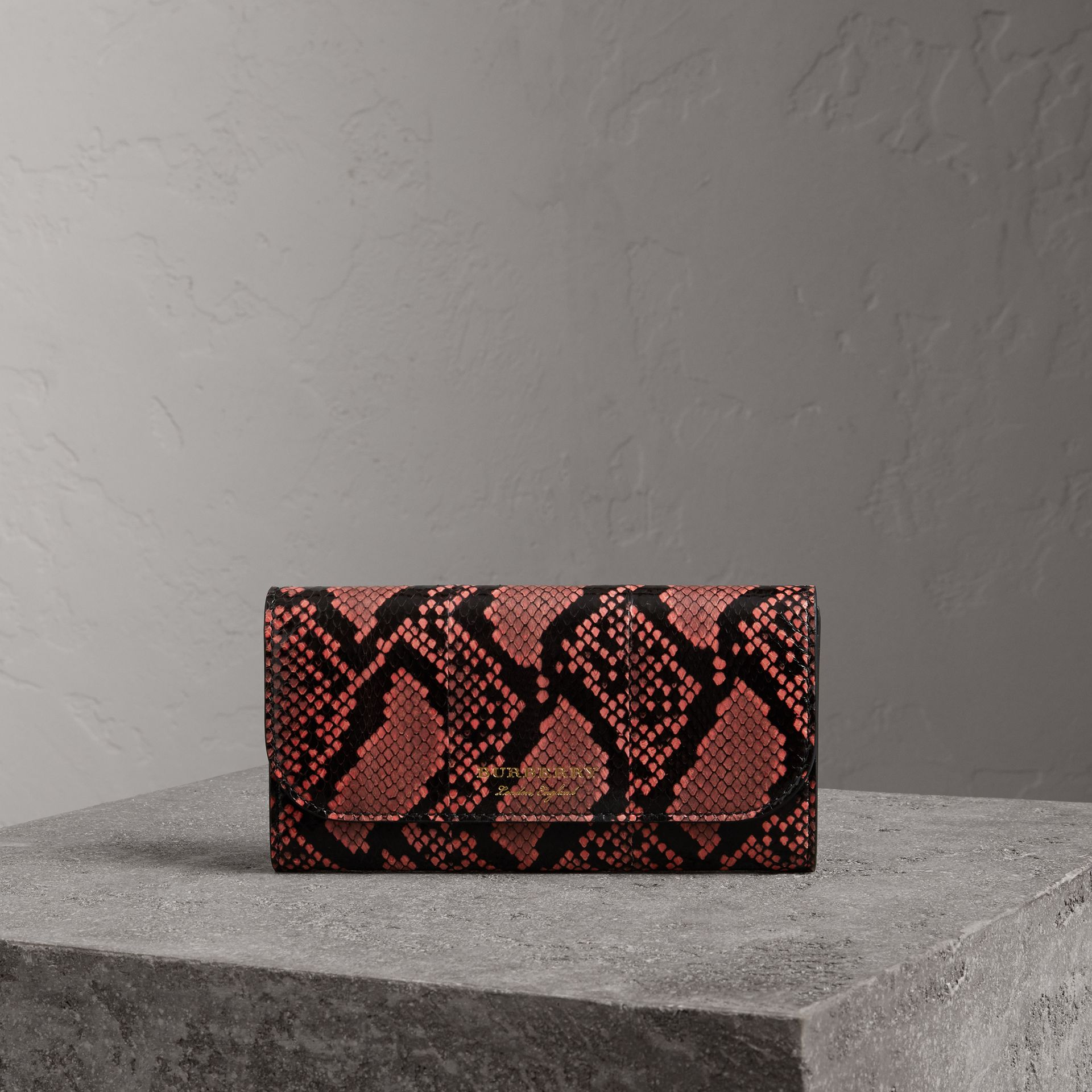 Python and Leather Continental Wallet in Peony - Women | Burberry United States - gallery image 0