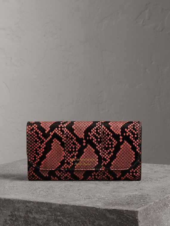 Python and Leather Continental Wallet in Peony