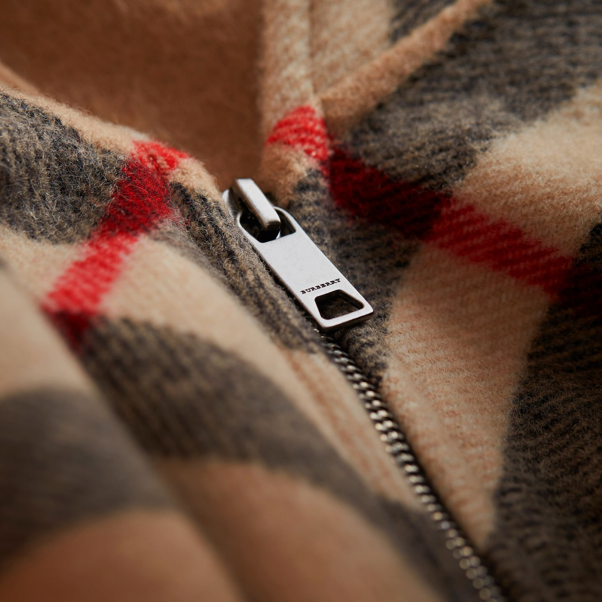 Check Wool Cashmere Hooded Poncho in New Classic - Girl | Burberry - gallery image 2