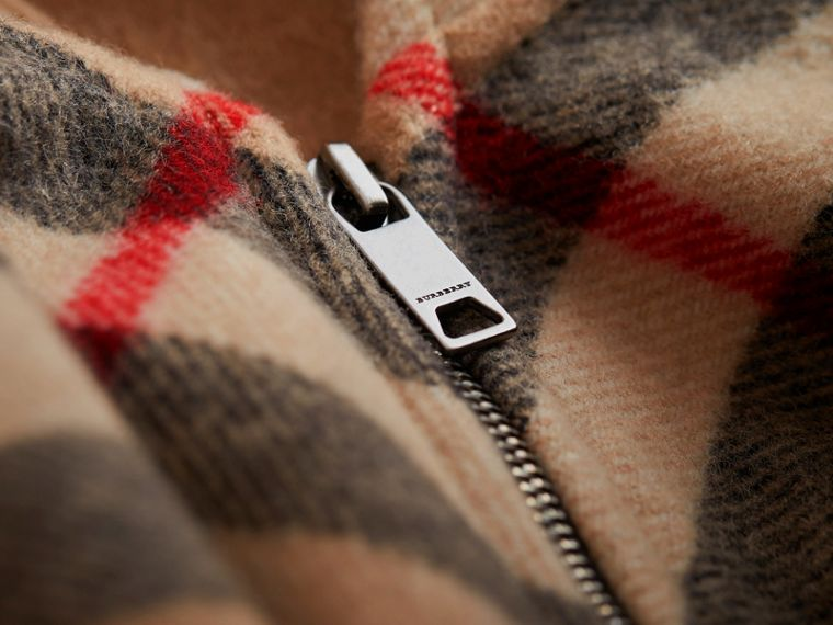 Check Wool Cashmere Hooded Poncho in New Classic - Girl | Burberry Canada - cell image 1