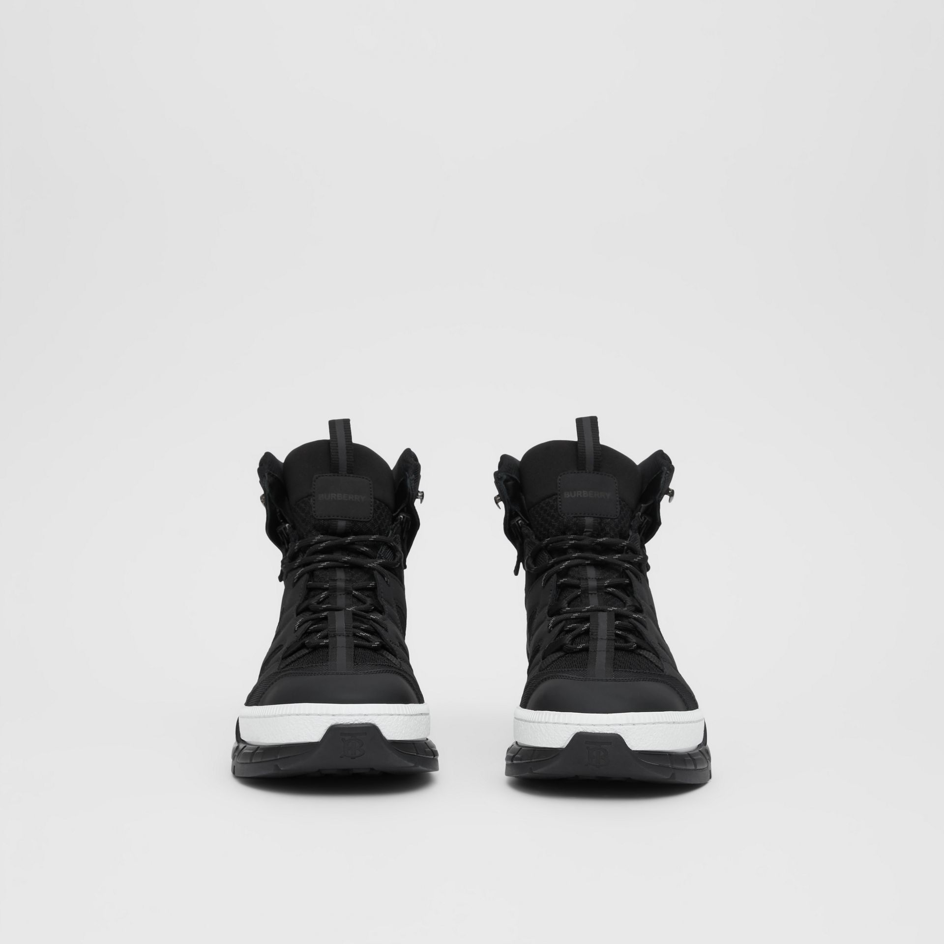 Mesh and Nubuck Union High-top Sneakers in Black - Men | Burberry Australia - gallery image 3