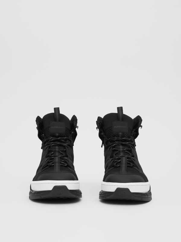 Mesh and Nubuck Union High-top Sneakers in Black - Men | Burberry United Kingdom - cell image 3