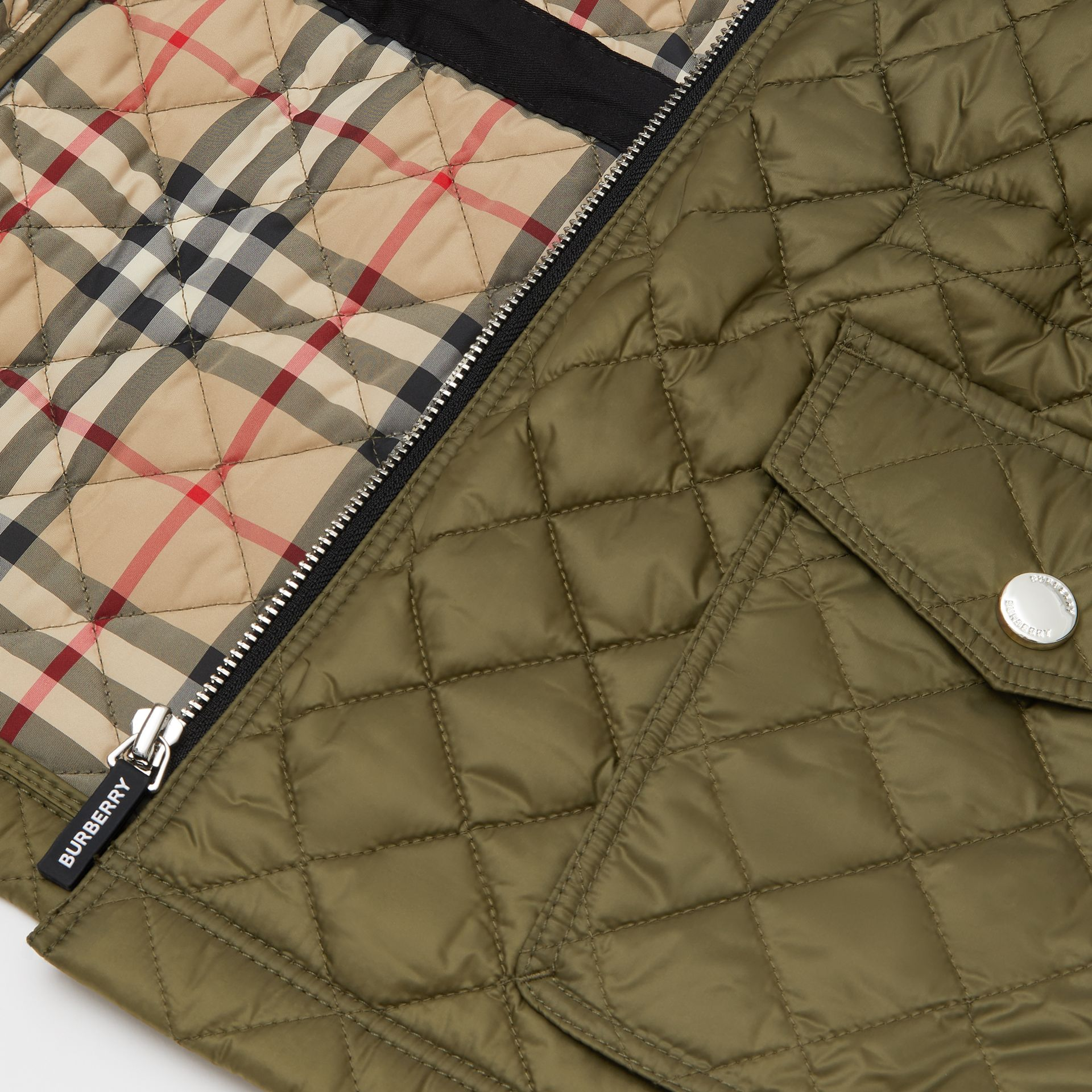 Diamond Quilted Hooded Coat in Military Olive | Burberry - gallery image 1