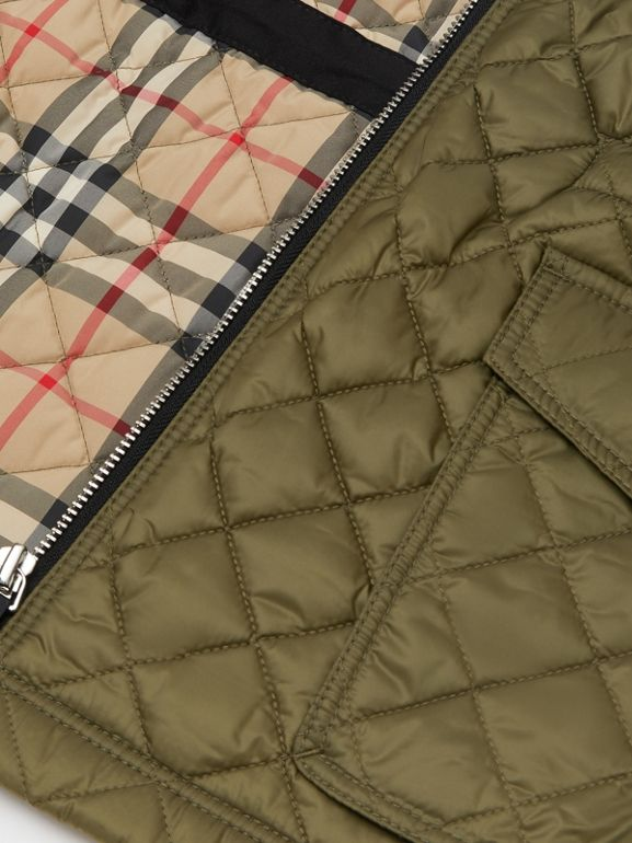 Diamond Quilted Hooded Coat in Military Olive | Burberry - cell image 1