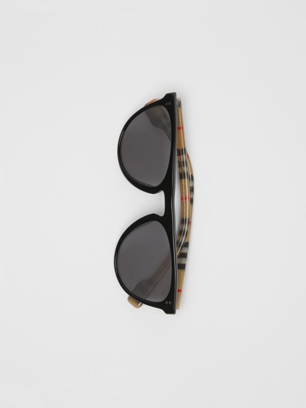 Vintage Check Detail Keyhole D-shaped Sunglasses in Black/beige - Men | Burberry Australia - cell image 3