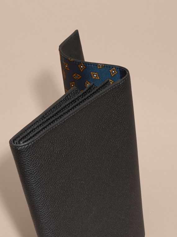Black Grainy Leather Travel Wallet Black - cell image 3