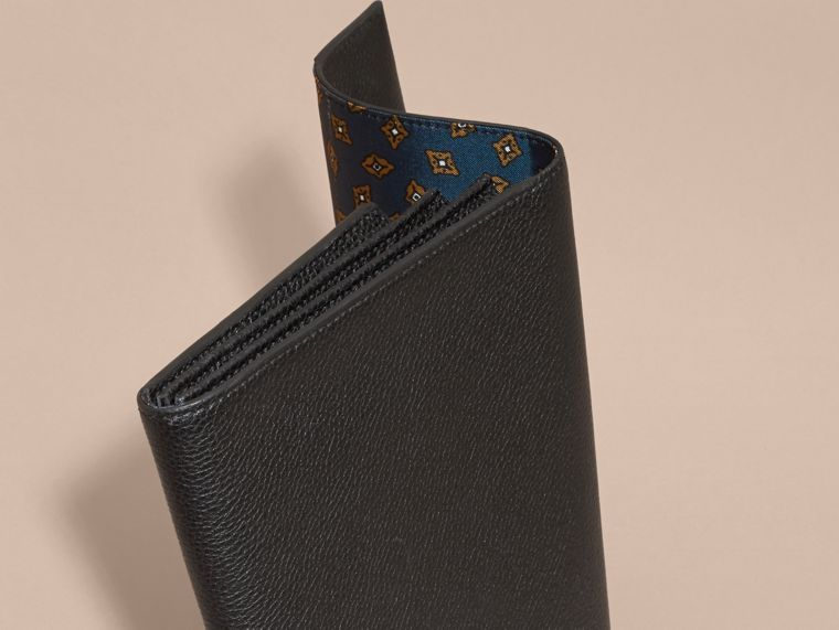 Black Grainy Leather Travel Wallet Black - cell image 4