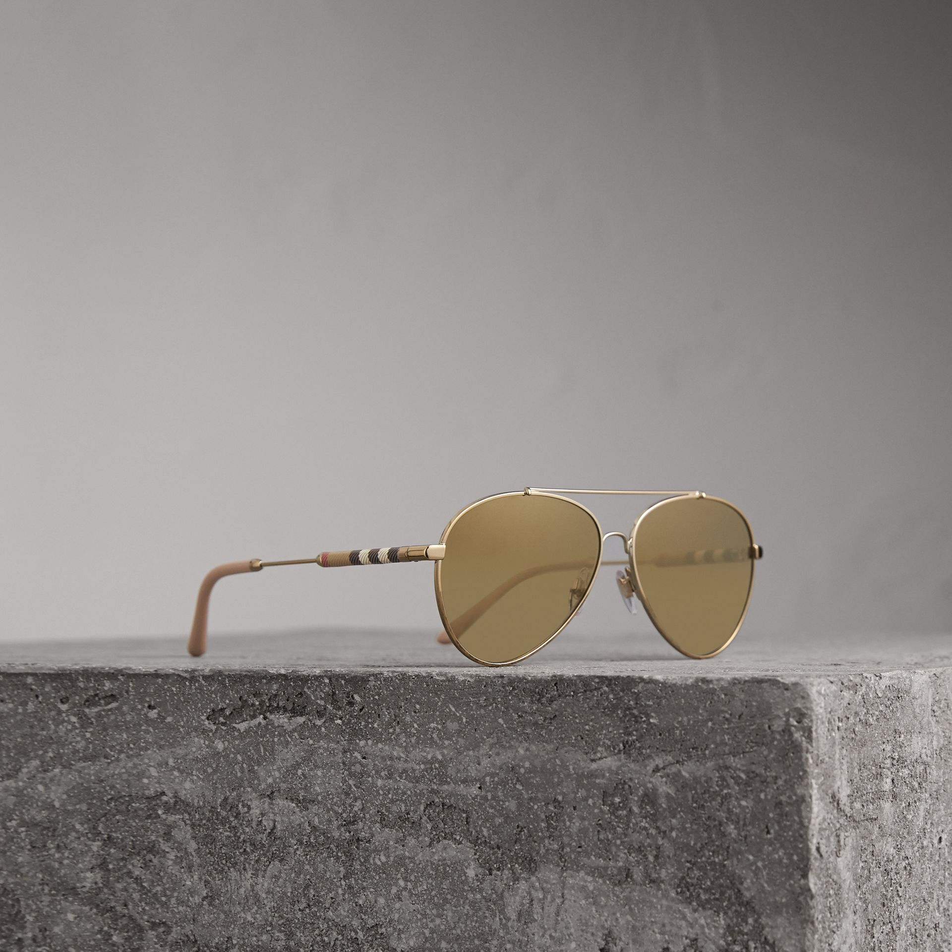 Check Detail Mirrored Pilot Sunglasses in Nude | Burberry - gallery image 0