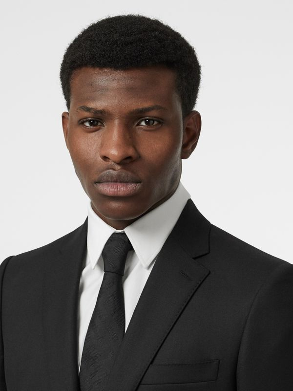 Modern Cut Check Silk Tie in Black - Men | Burberry Australia - cell image 2