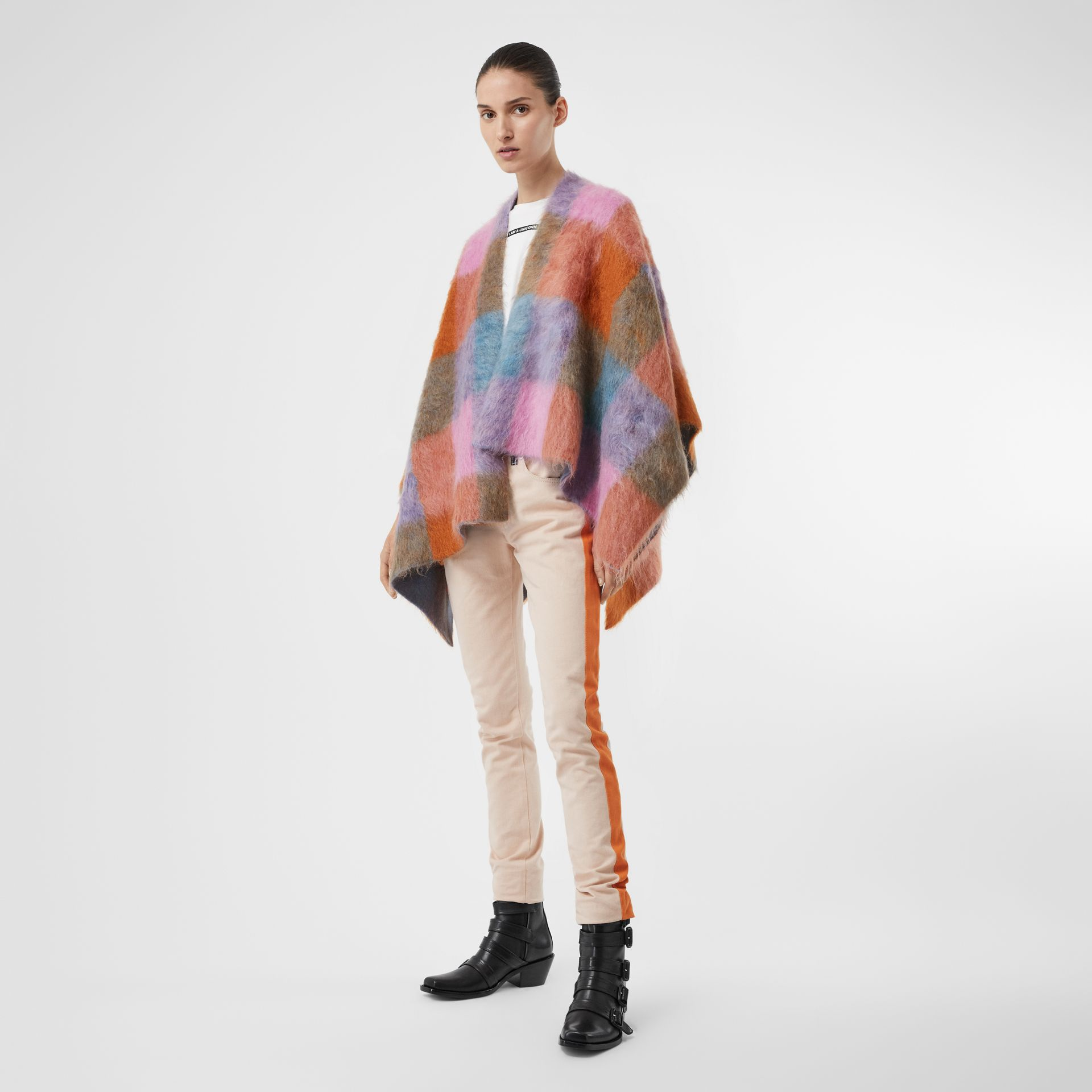 Patchwork Mohair Blend Cape in Apricot Pink - Women | Burberry - gallery image 0