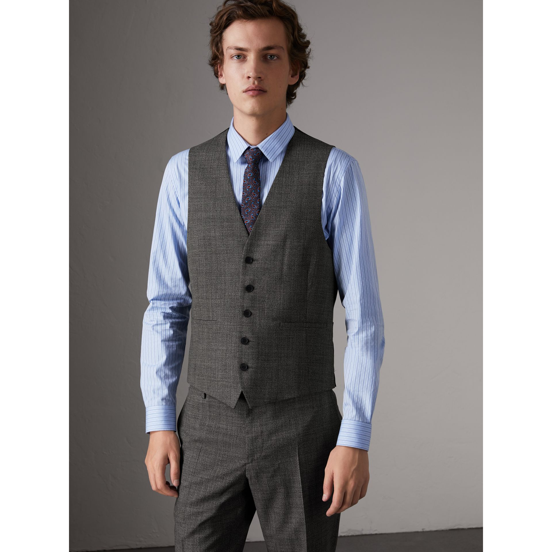 Slim Fit Wool Three-piece Suit in Dark Grey Melange - Men | Burberry - gallery image 7