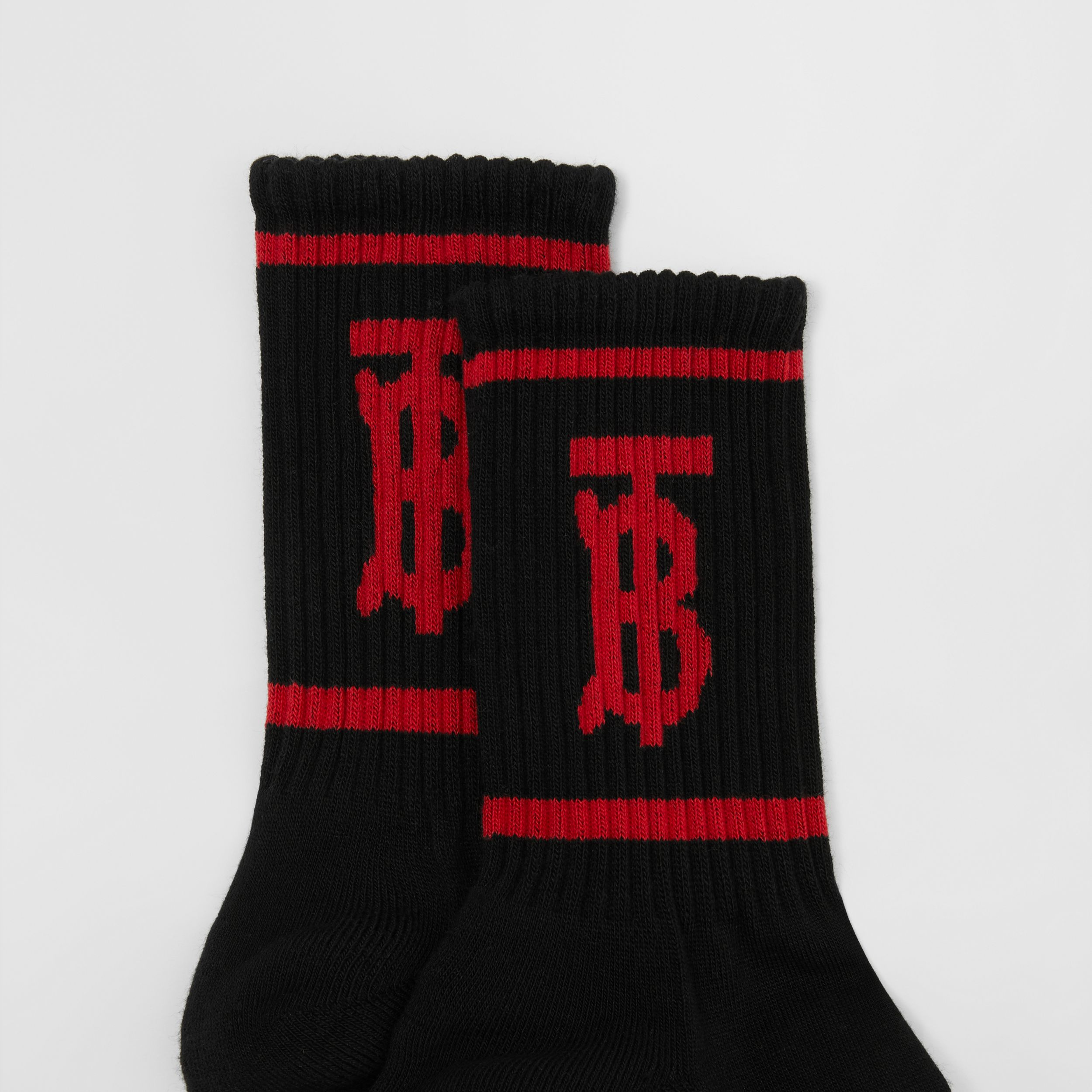 Monogram Motif Intarsia Socks in Black/red | Burberry - 2