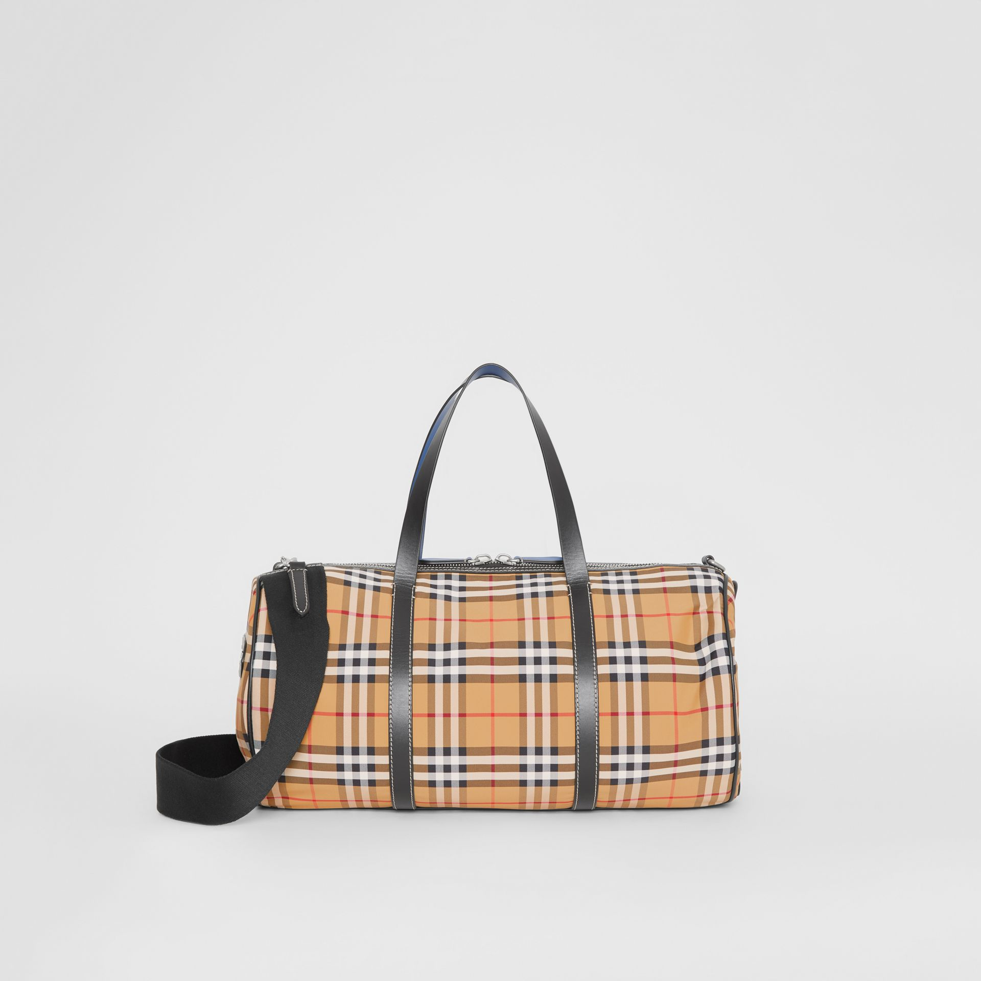Medium Vintage Check and Leather Barrel Bag in Antique Yellow - Men | Burberry - gallery image 0