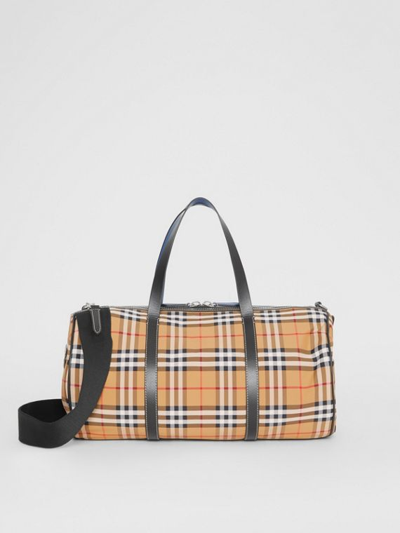 Sac The Barrel moyen en cuir et à motif Vintage check (Jaune Antique)