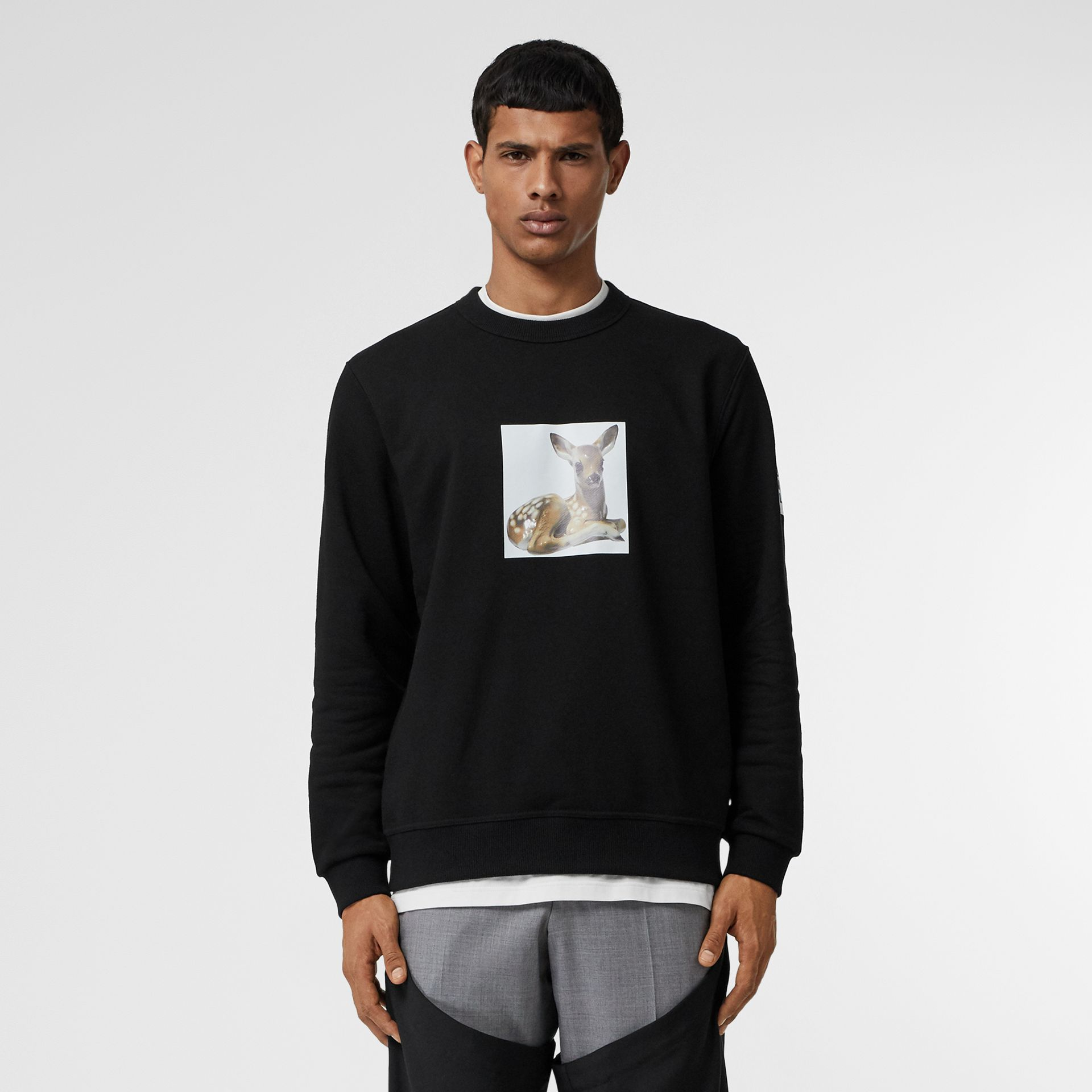 Deer Print Cotton Sweatshirt in Black - Men | Burberry Singapore - gallery image 6