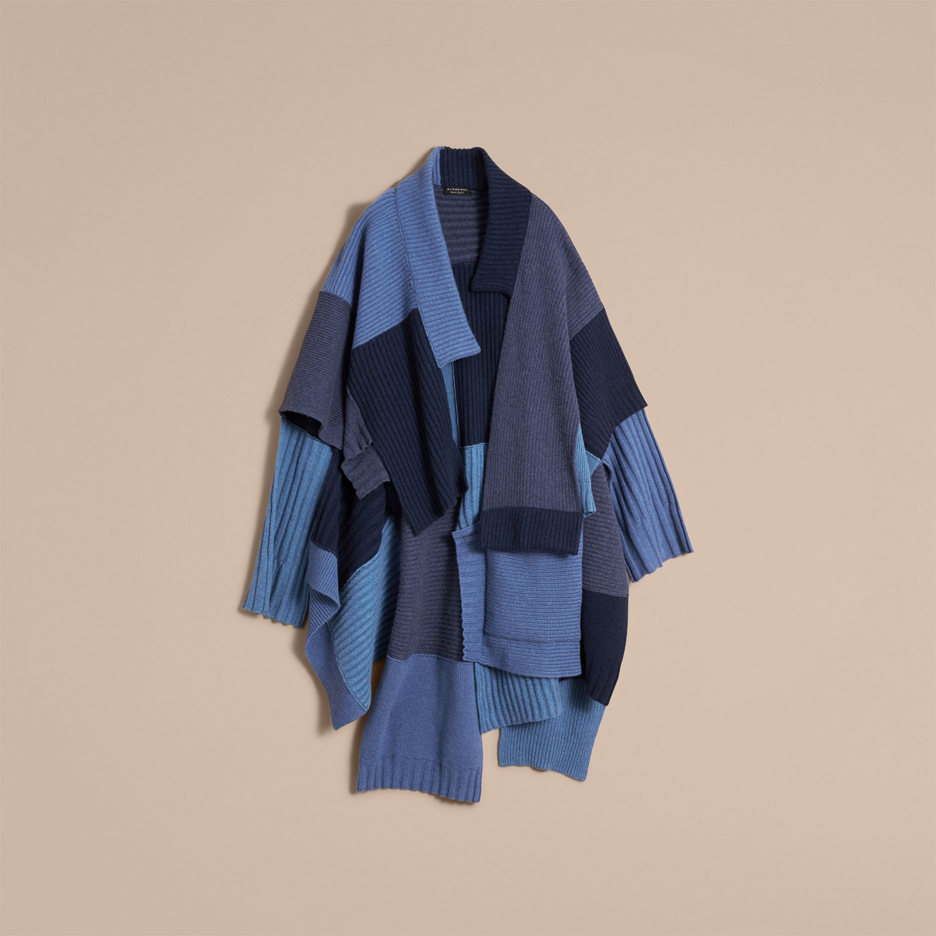 Wool Cashmere Patchwork Poncho in Carbon Blue - Women | Burberry - gallery image 4