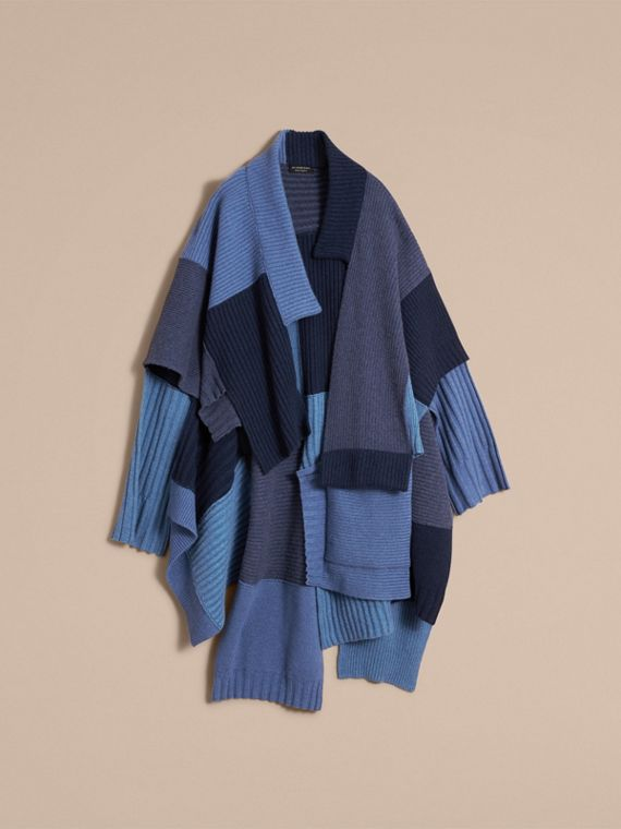 Wool Cashmere Patchwork Poncho in Carbon Blue - Women | Burberry Singapore - cell image 3