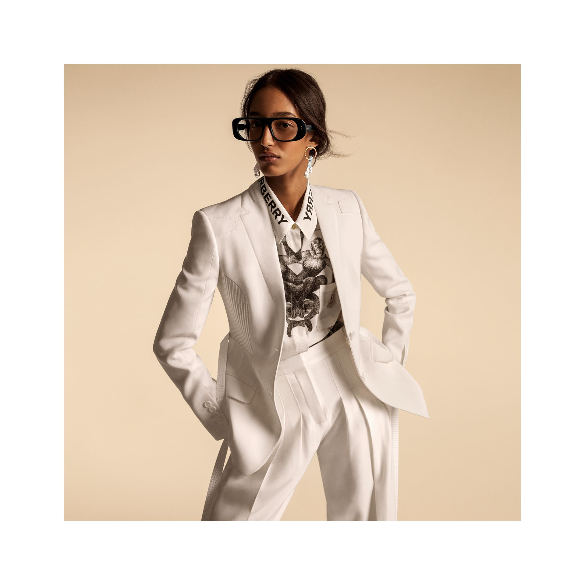 Montage Print Silk Shirt in Monochrome | Burberry - gallery image 6