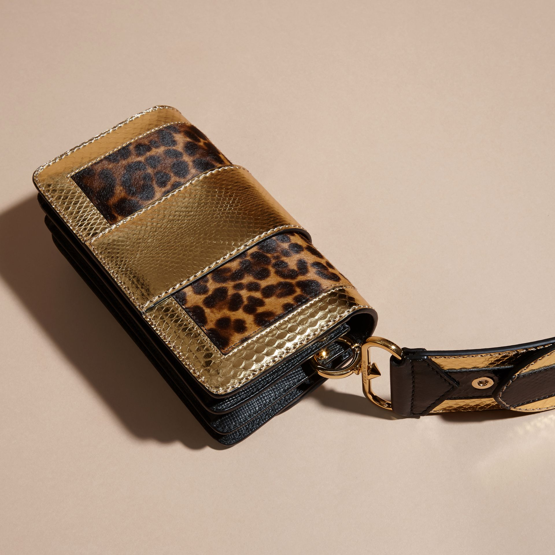 Black/gold The Patchwork in Leopard-print Calfskin and Textured Leather - gallery image 5