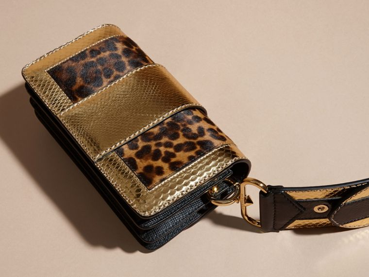 Black/gold The Patchwork in Leopard-print Calfskin and Textured Leather - cell image 4