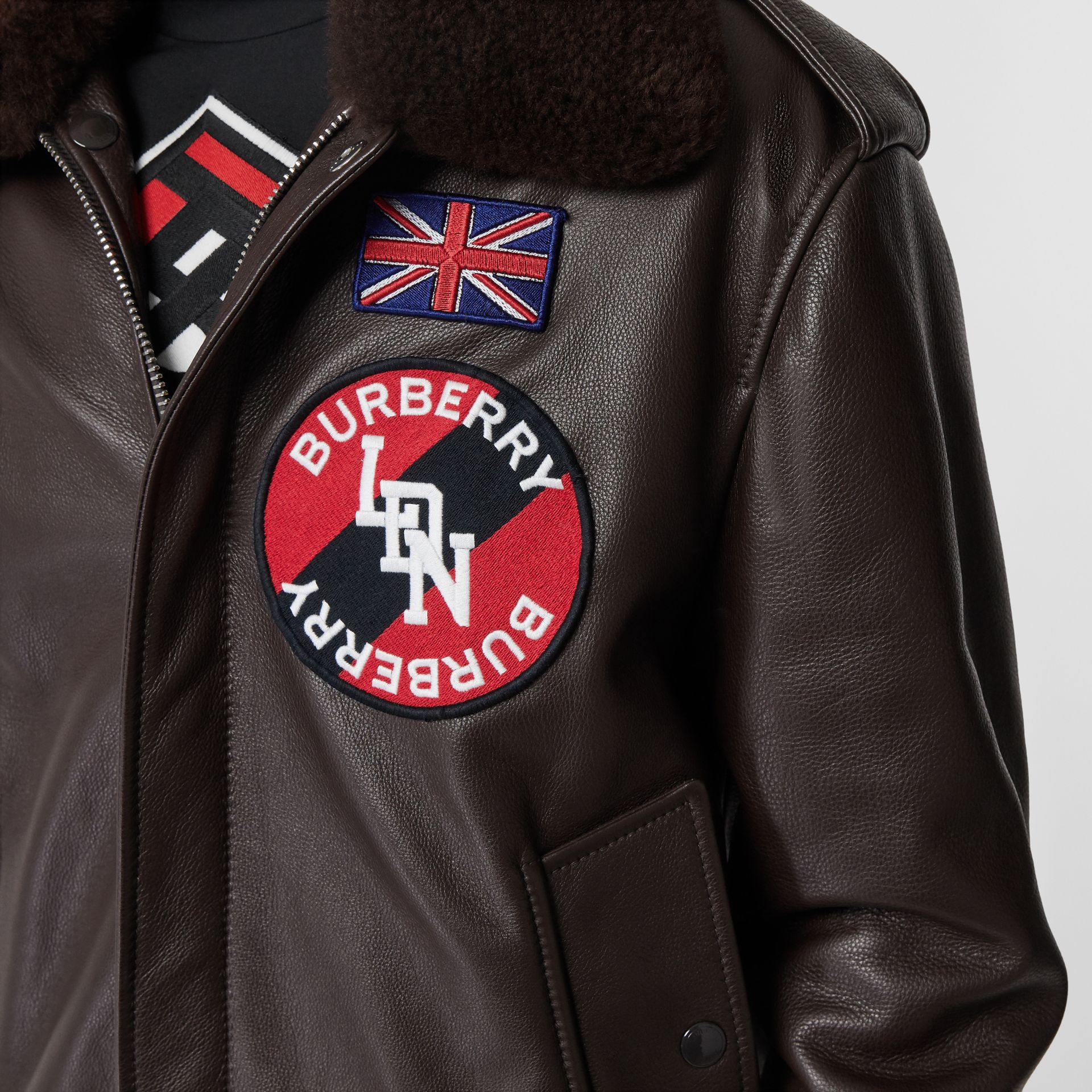 Detachable Shearling Collar Flight Jacket with Warmer in Dark Brown - Women | Burberry Hong Kong S.A.R - gallery image 1