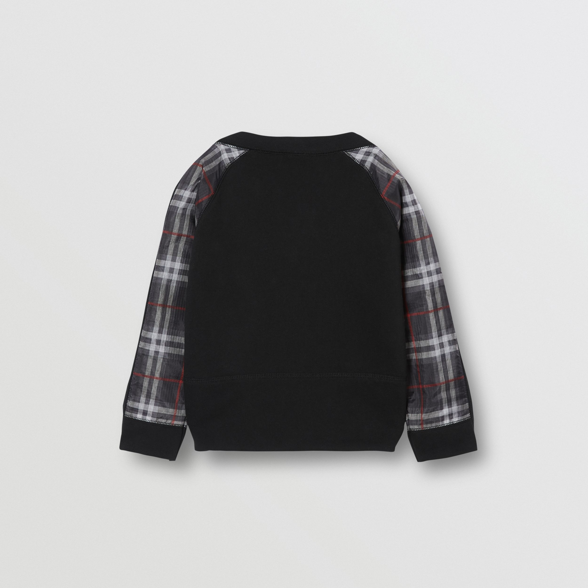 Vintage Check Detail Logo Print Cotton Sweatshirt in Black | Burberry - 4