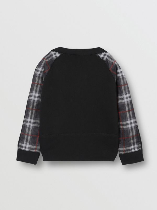 Vintage Check Detail Logo Print Cotton Sweatshirt in Black | Burberry - cell image 3