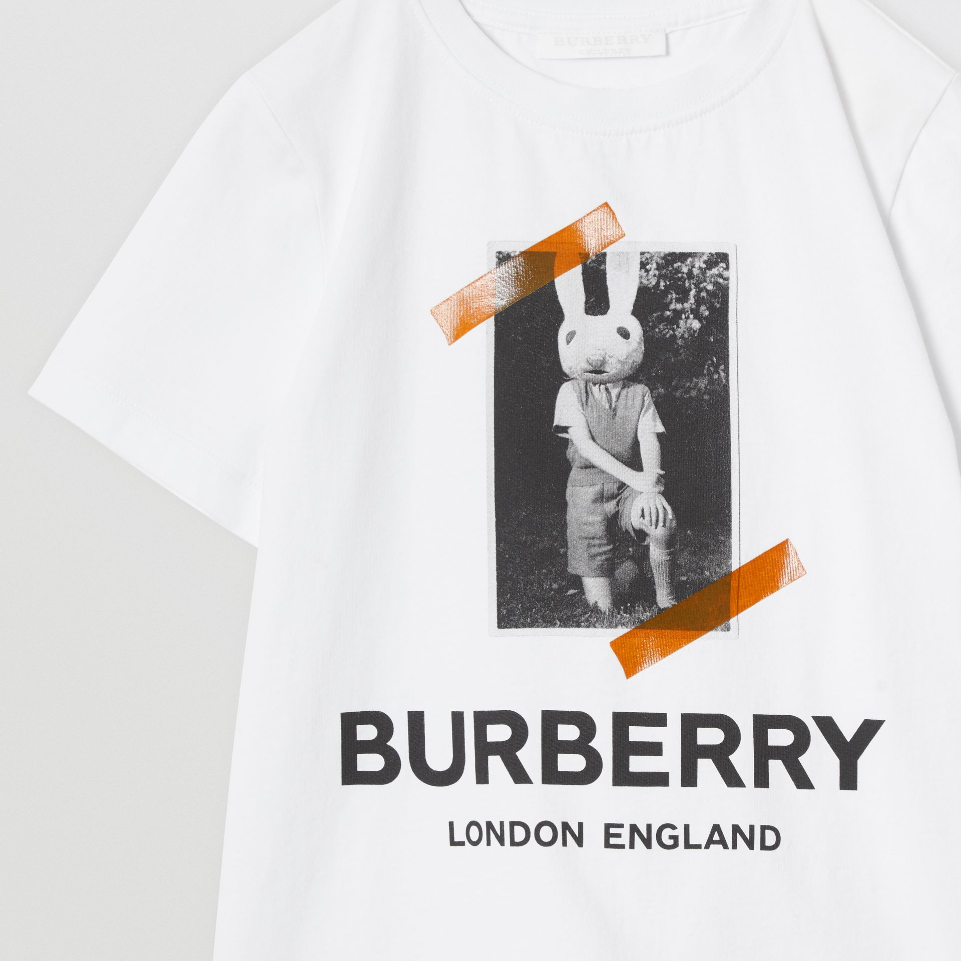 Vintage Photo Print Cotton T-shirt in White | Burberry Australia - gallery image 5