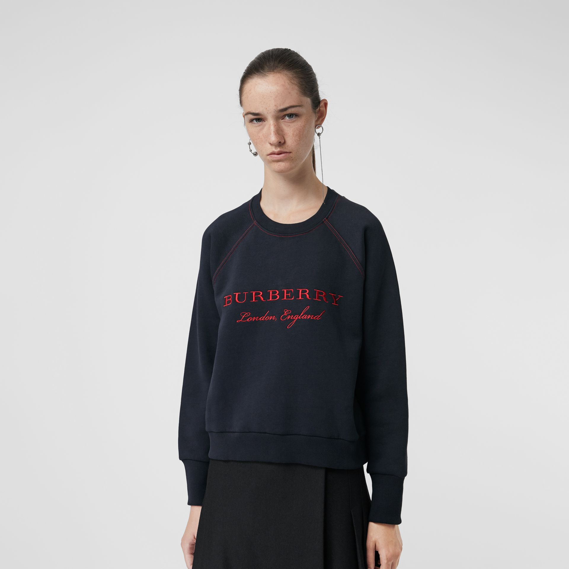 Embroidered Cotton Blend Jersey Sweatshirt in Navy - Women | Burberry - gallery image 4