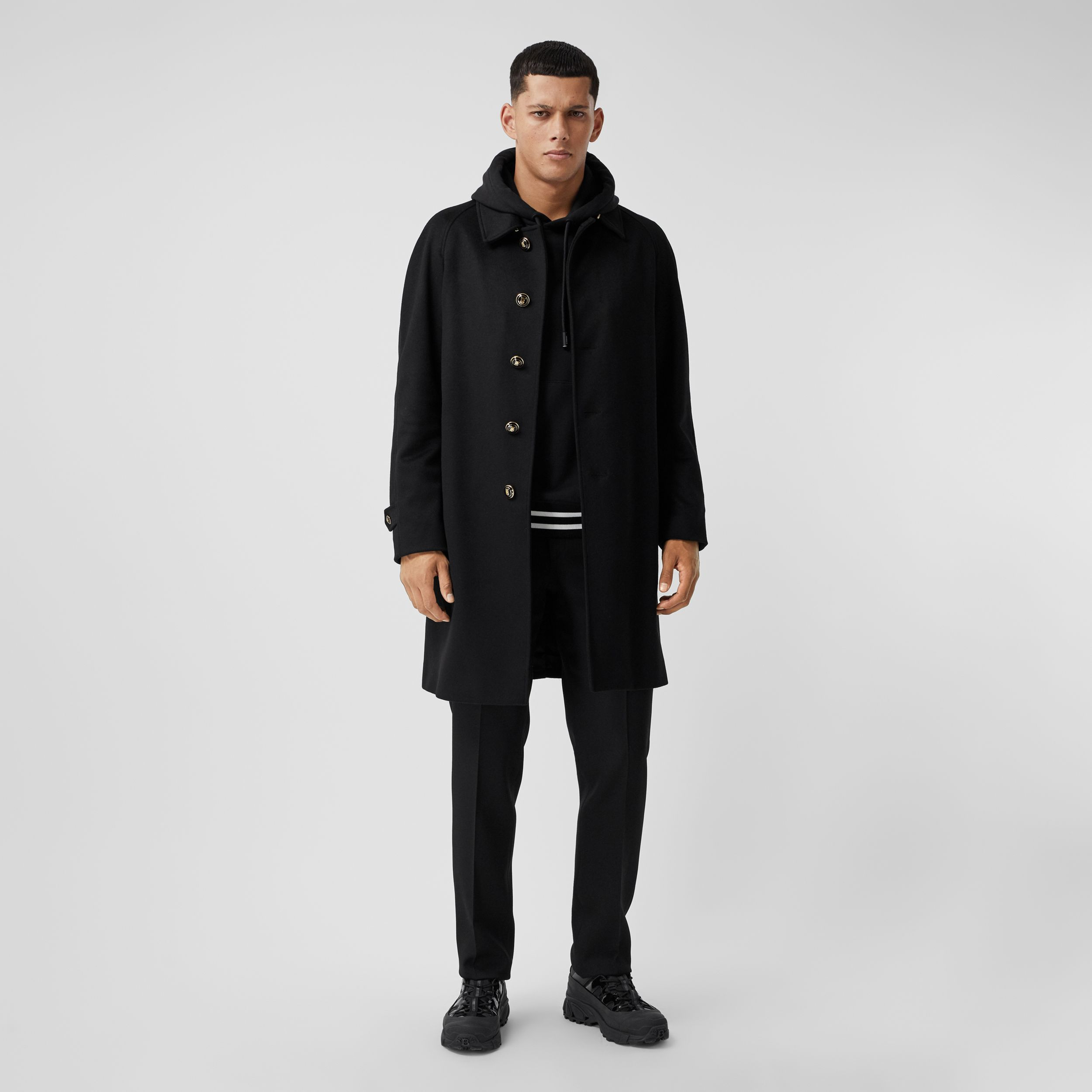 Button Detail Wool Cashmere Car Coat in Black - Men | Burberry - 1