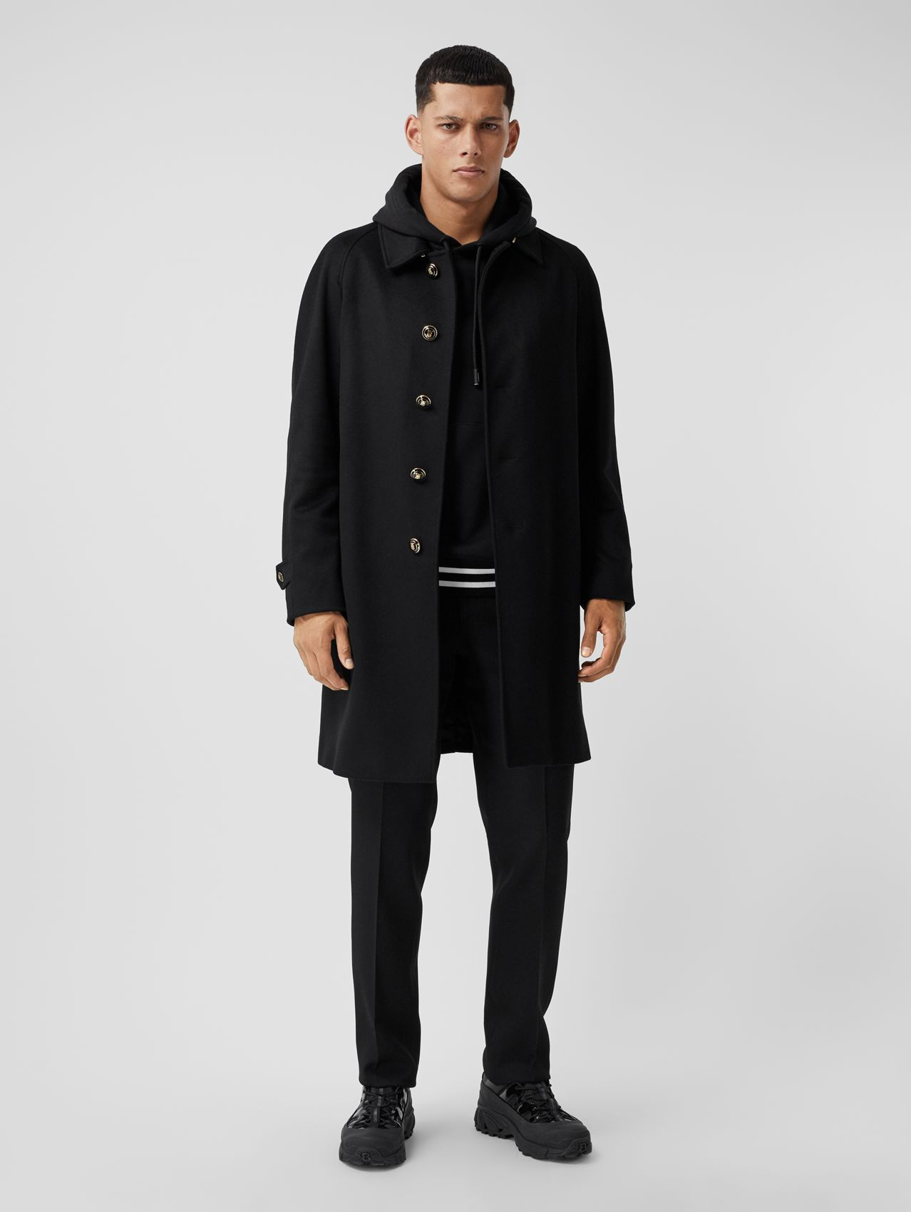Button Detail Wool Cashmere Car Coat in Black