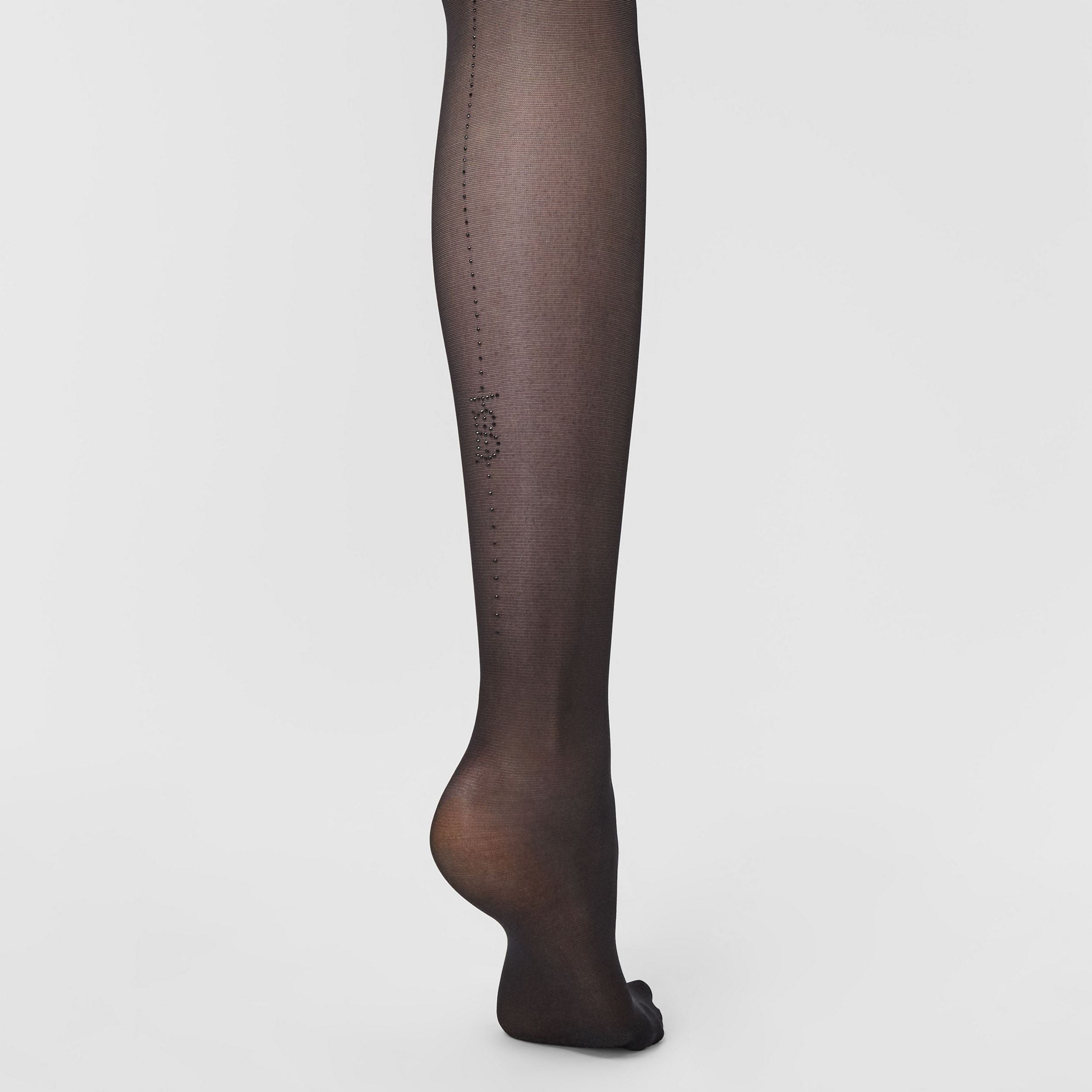 Crystal Monogram Motif Seamed Tights in Black | Burberry - 2