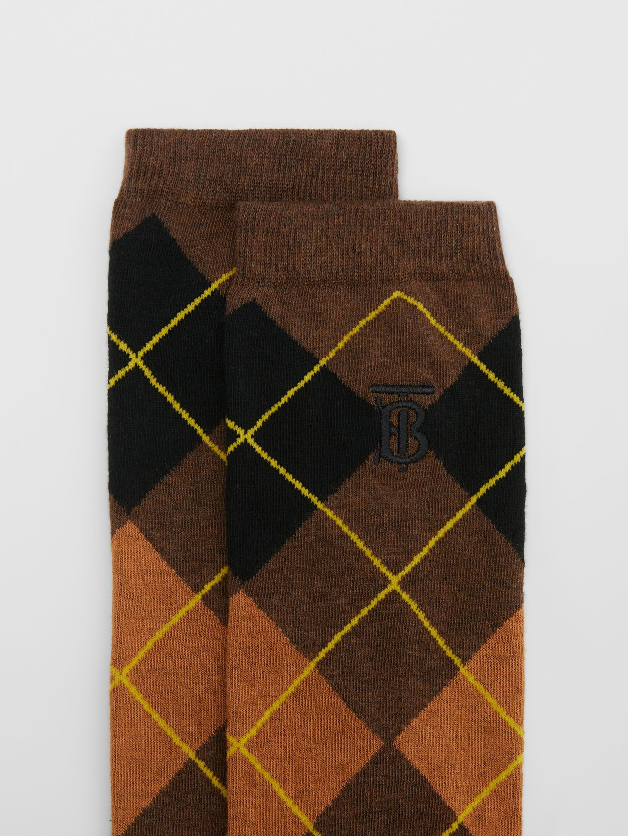 Argyle Intarsia Cotton Blend Calf-length Socks in Brown