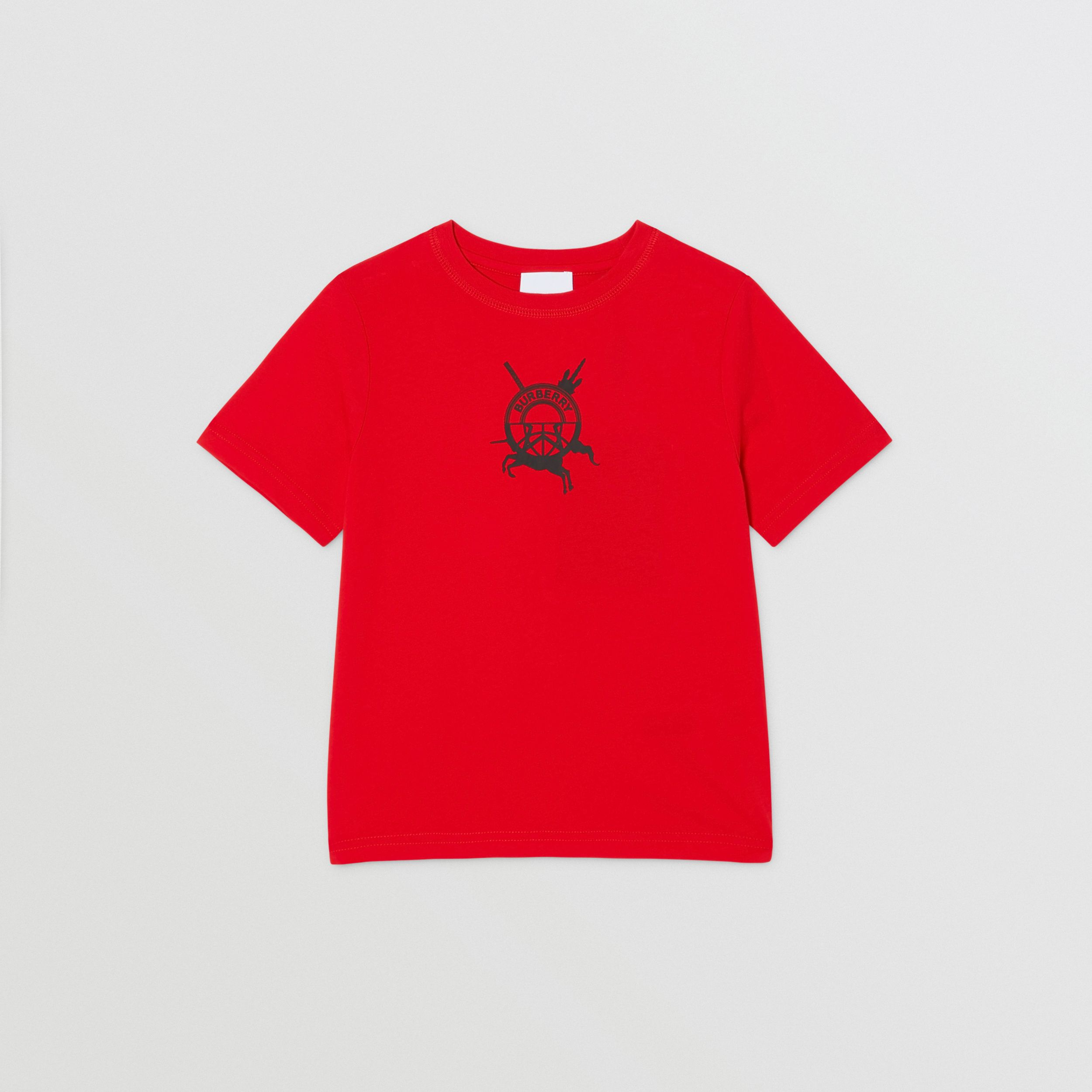 Logo Graphic Print Cotton T-shirt in Bright Red | Burberry - 1