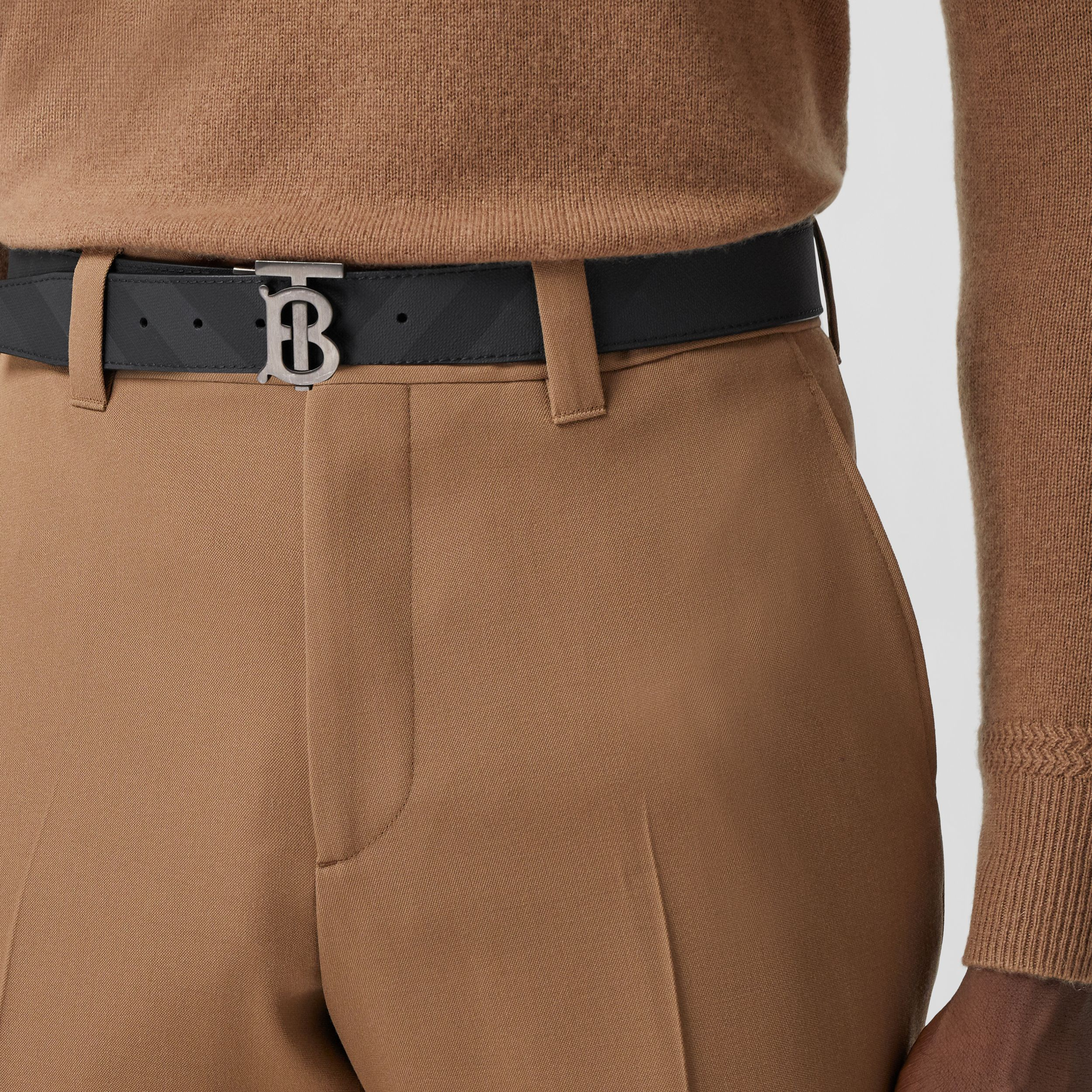 Reversible Monogram Motif London Check Belt in Dark Charcoal - Men | Burberry Australia - 3