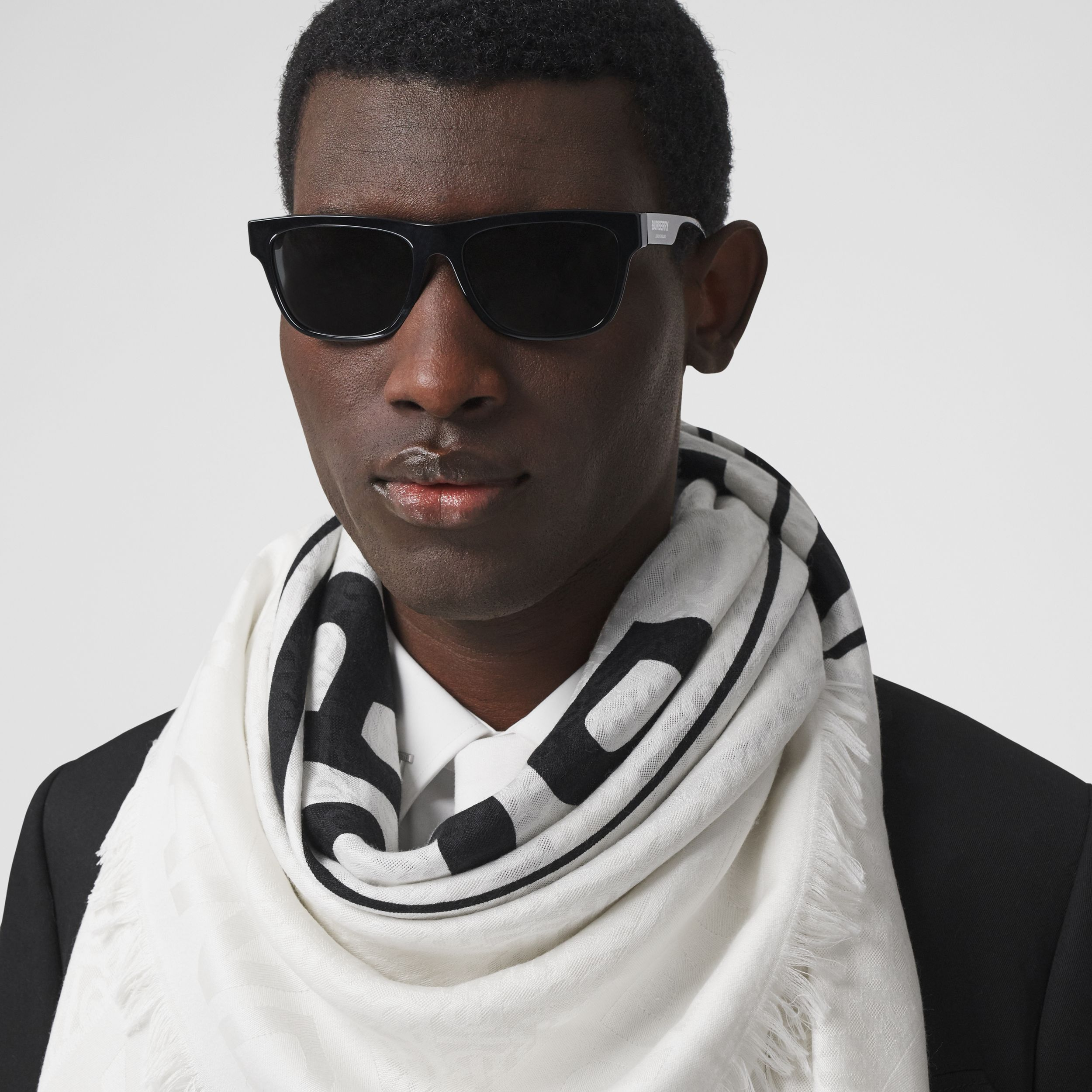 Logo Graphic Silk Wool Jacquard Large Square Scarf in White/black | Burberry Singapore - 4