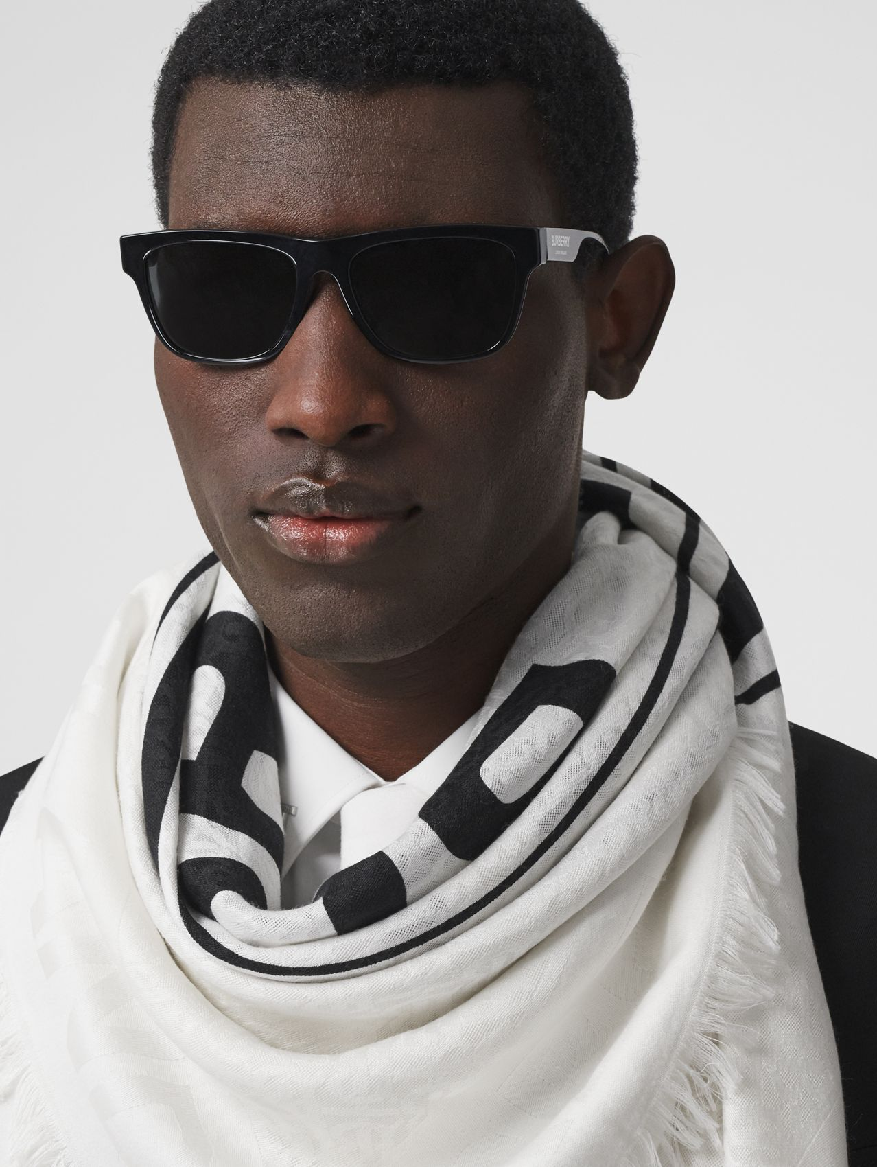 Logo Graphic Silk Wool Jacquard Large Square Scarf in White/black