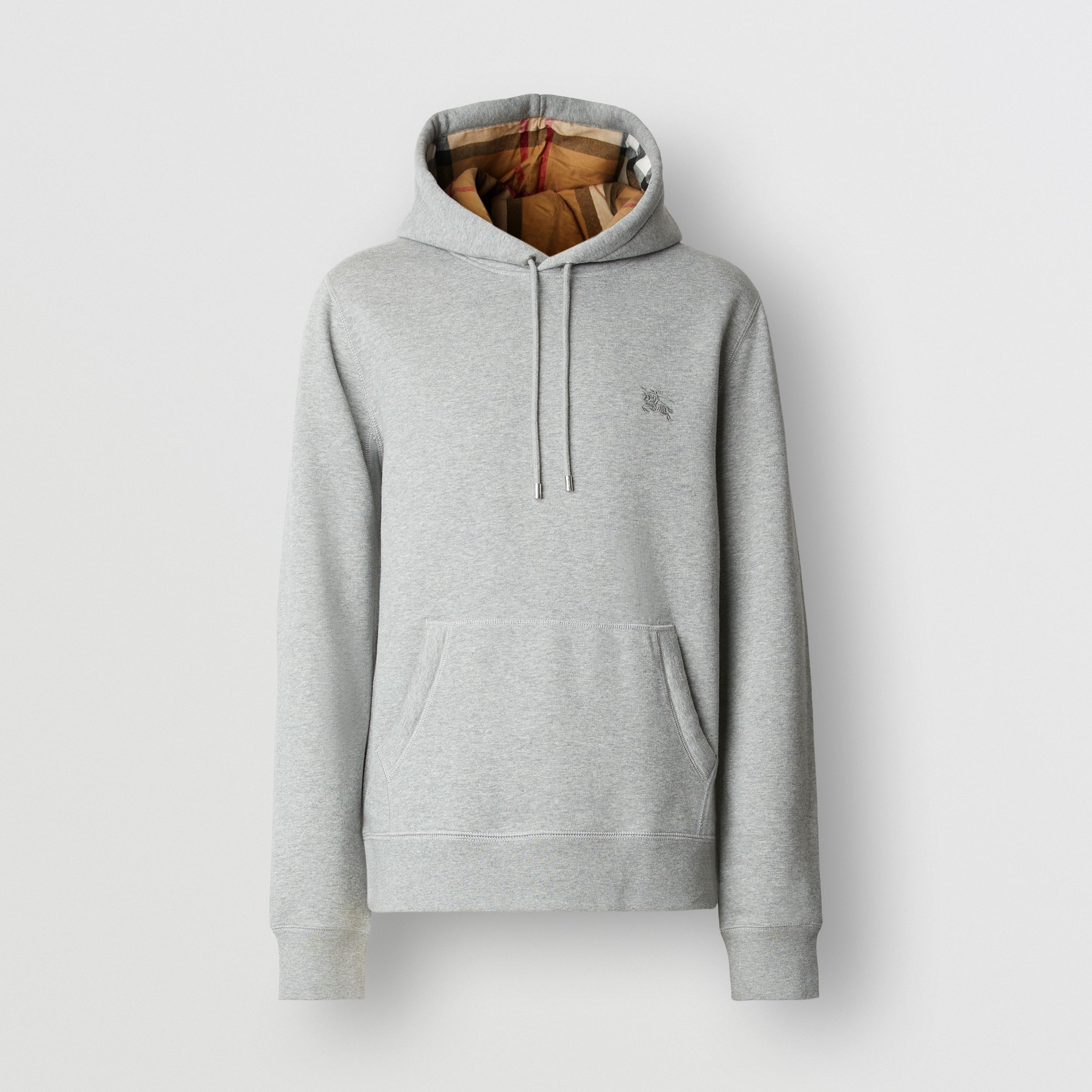 Embroidered EKD Cotton Blend Hoodie in Pale Grey Melange - Men | Burberry Canada - 1