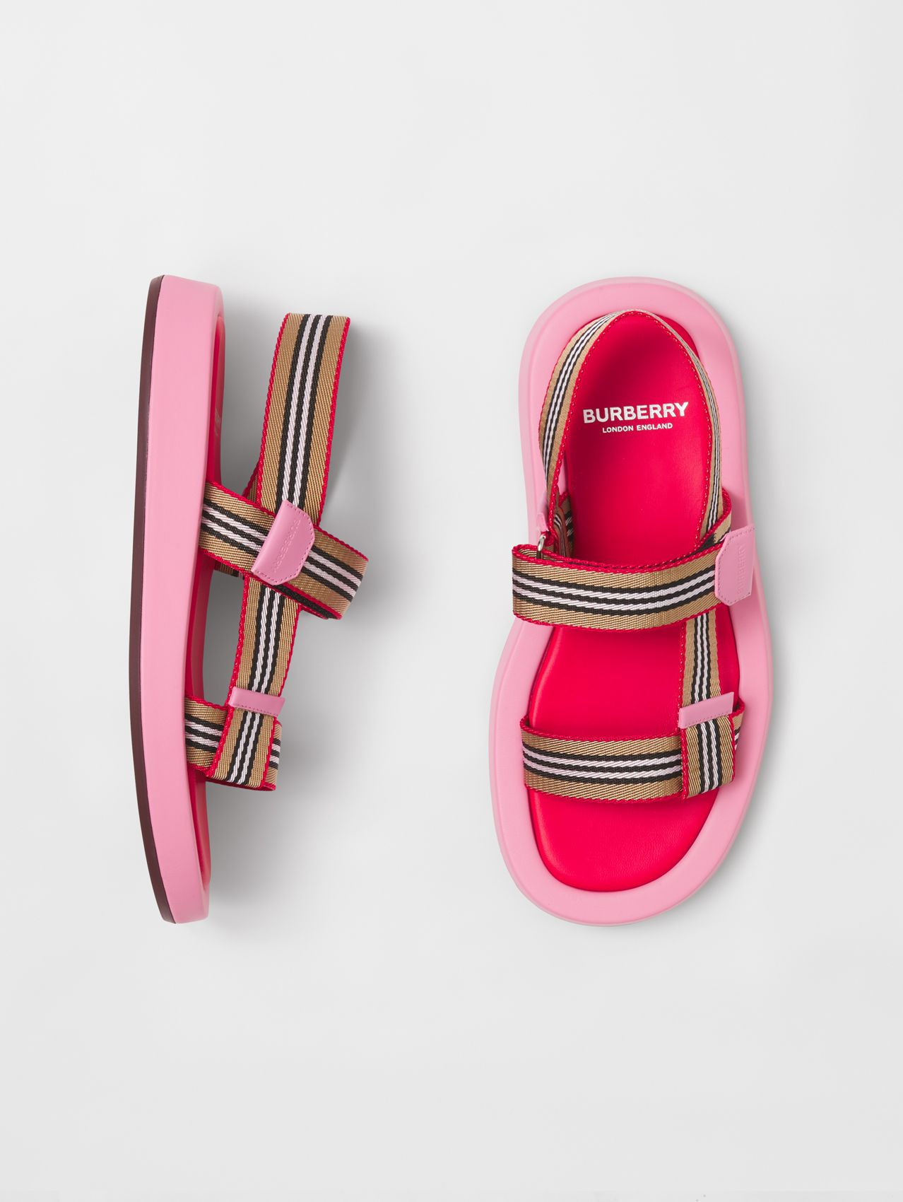Icon Stripe Strap Leather Sandals in Candy Pink