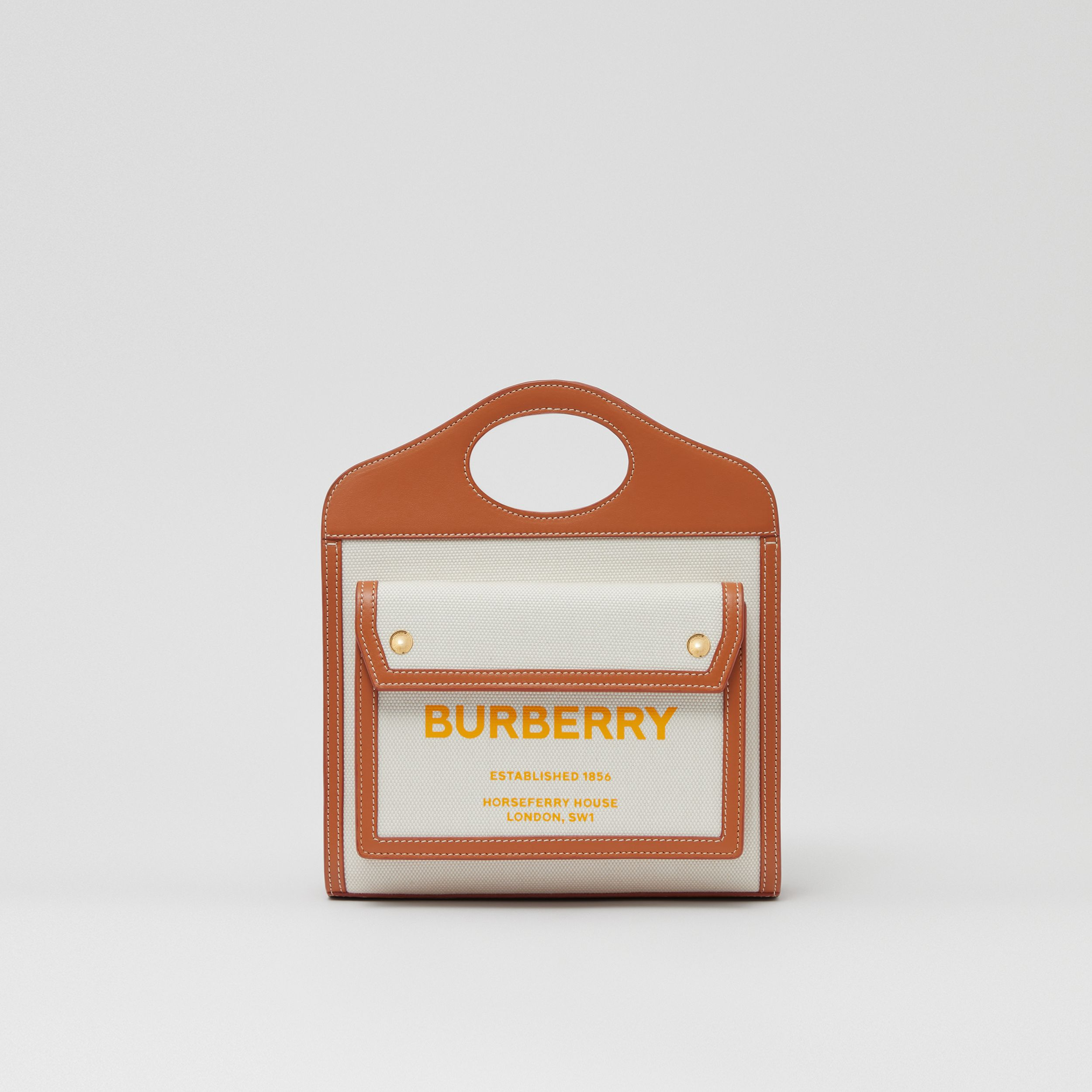 Mini Two-tone Canvas and Leather Pocket Bag in Natural/dark Amber - Women | Burberry Canada - 1