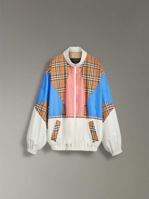 Vintage Check Panel Silk Shell Suit Jacket in White | Burberry - cell image 3