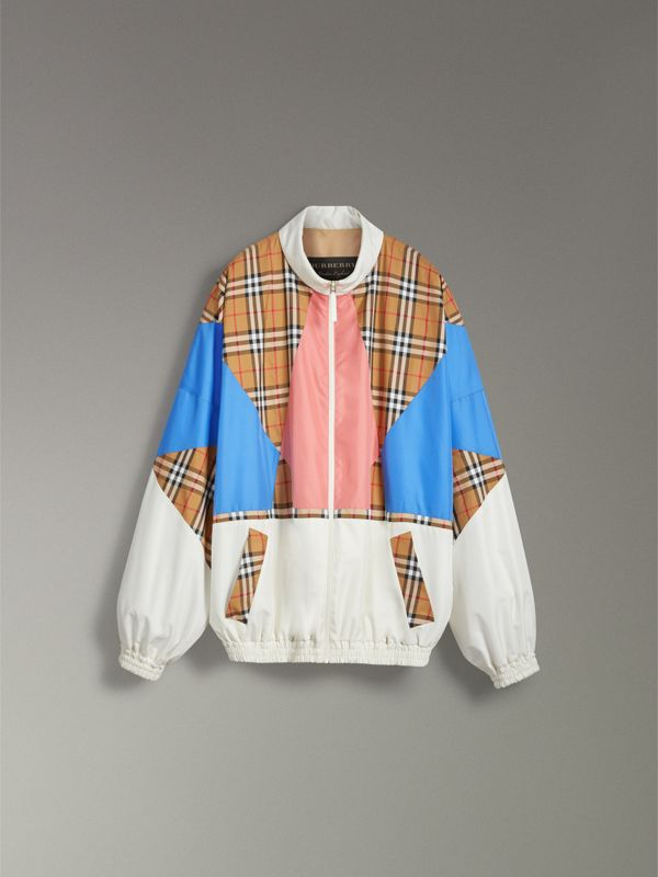 Vintage Check Panel Silk Shell Suit Jacket in White | Burberry Australia - cell image 3