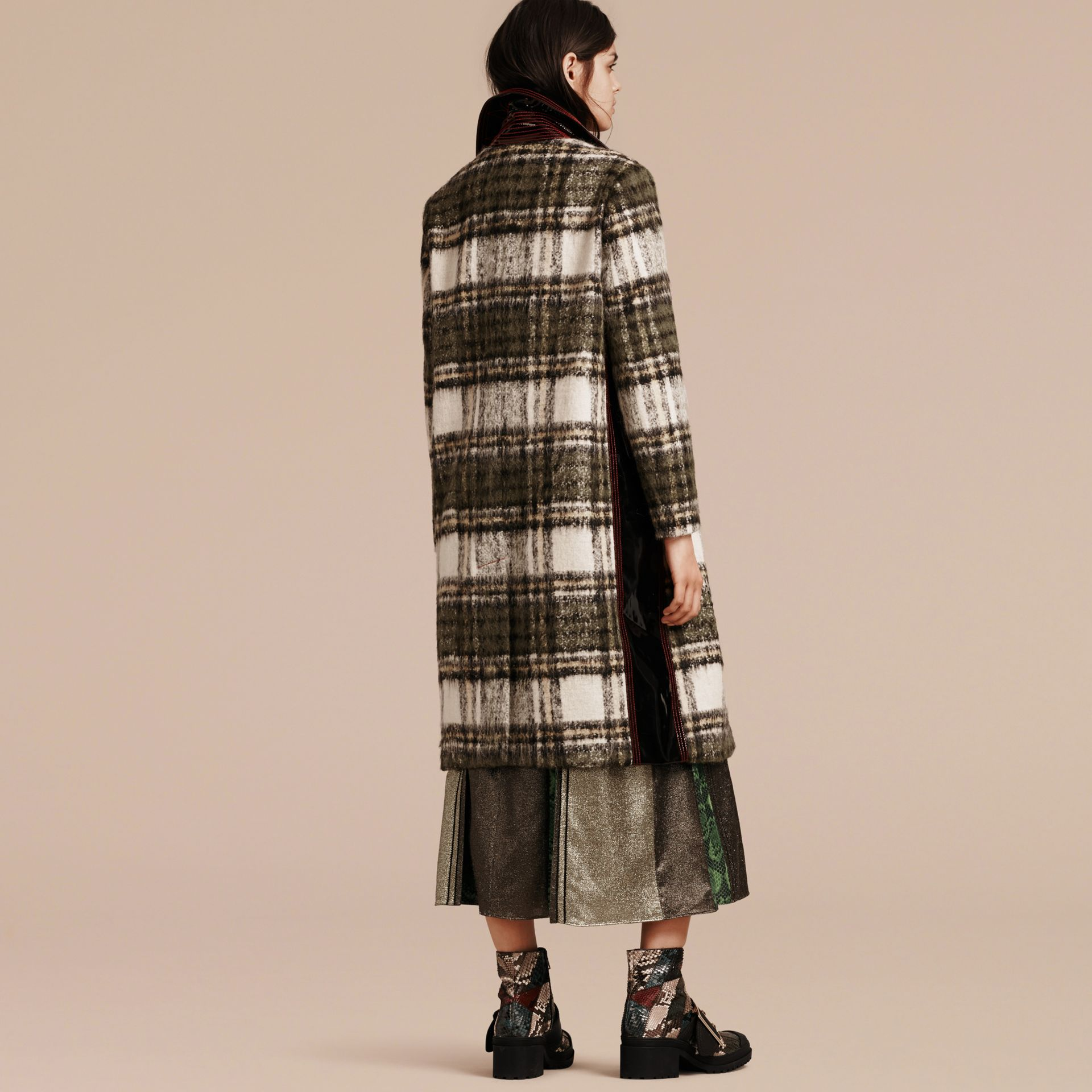 Forest green Brushed Tartan Wool Mohair Coat - gallery image 3