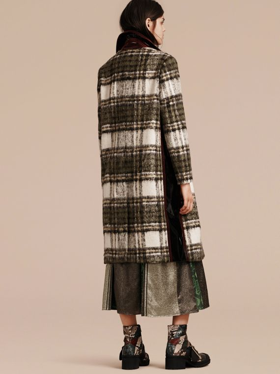 Forest green Brushed Tartan Wool Mohair Coat - cell image 2